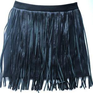 Vakko black Leather tassel mini Skirt Sz 4